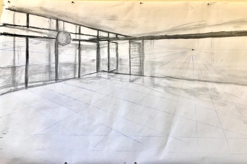 working drawing showing perspective lines