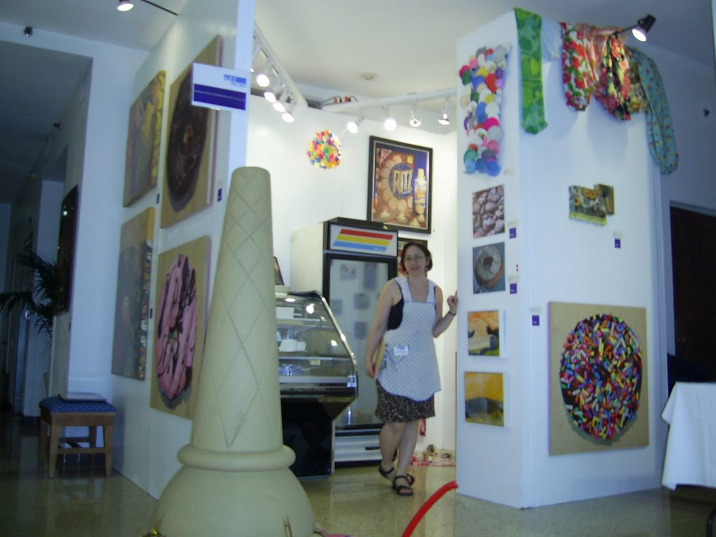 art fair booth in miami with the author