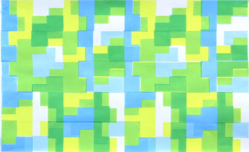 screenprint, abstract, blue, green, yellow