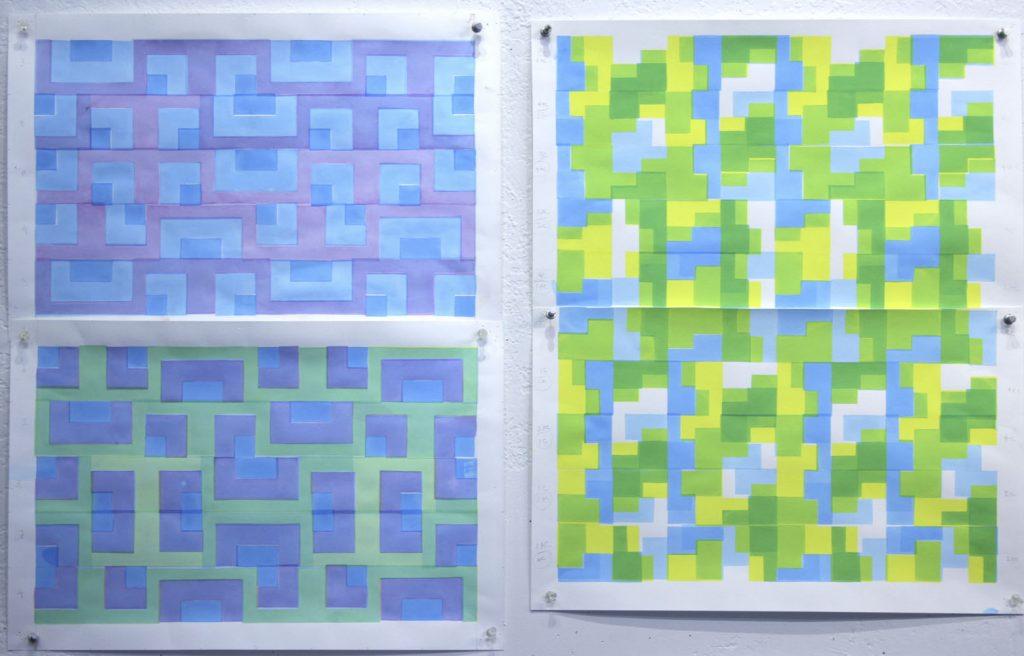 screenprints, abstract, pattern, blue, green